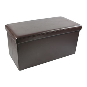Collapsible Brown Faux Leather Storage Ottoman