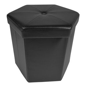 Collapsible Hexagon Black Faux Leather Storage Ottoman