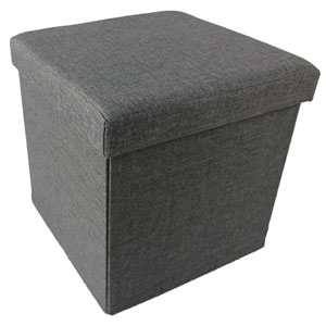 Collapsible Gray Linen Storage Ottoman