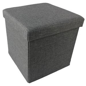 Collapsible Gray Linen Storage Ottoman