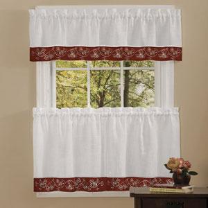Oakwood Burgundy 58 x 24-Inch Window Tier Pair