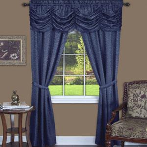 Panache Navy 63 x 55 In. Five-Piece Window Curtain Set