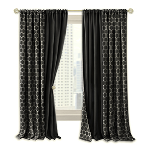 Prelude Black 63 x 50 In. Reversible Blackout Curtain Panel