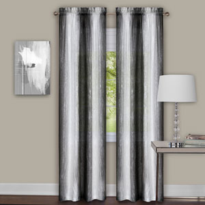 Sombre Black and White 84 x 40 In. Curtain Panel Pair