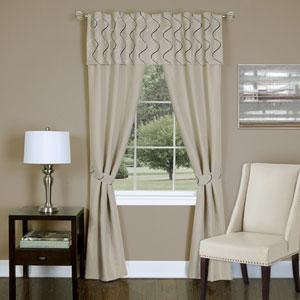Trellis Tan 63 x 55 In. Five-Piece Window Curtain Set