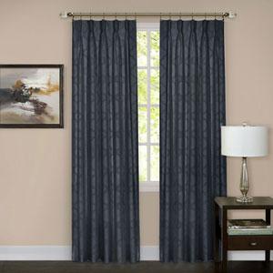 Windsor Navy Pinch Pleat 63 x 34 In. Window Curtain Panel