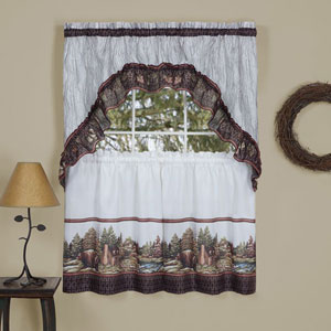 Woodlands Brown 57 x 24-Inch Printed Tier and Swag Window Set