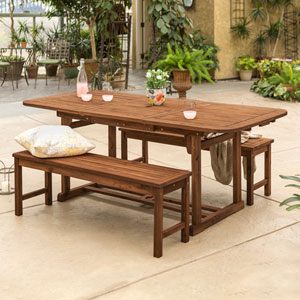 3-Piece Dark Brown Acacia Patio Dining Set