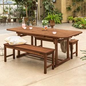 3-Piece Dark Brown Acacia Patio Dining Set