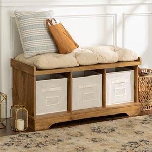 42-inch Wood Storage Bench with Totes and Cushion - Barnwood
