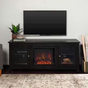 58-inch Black Wood Fireplace TV Stand with Doors