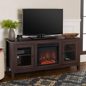 58-inch Fireplace Stand with Doors - Espresso