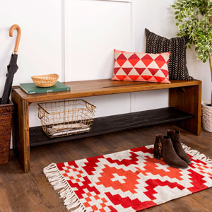 58-Inch Solid Rustic Reclaimed Wood Entry Bench - Amber