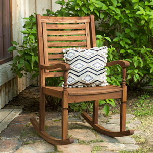 Solid Acacia Wood Rocking Patio Chair, Brown