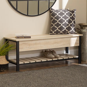 48-Inch Open-Top Storage Bench with Shoe Shelf  - White Oak