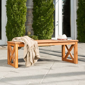 Acacia Wood X-Frame Patio Bench - Brown