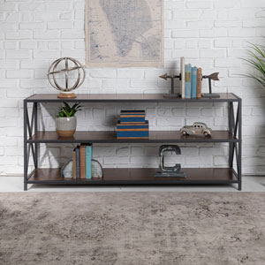 60-Inch X-Frame Metal and Wood Console Table - Dark Walnut