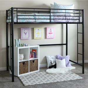 Sunset Black Metal Twin Loft Bunk Bed