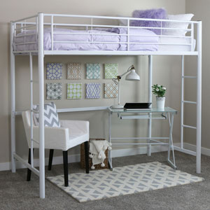 Sunset White Metal Twin Loft Bunk Bed