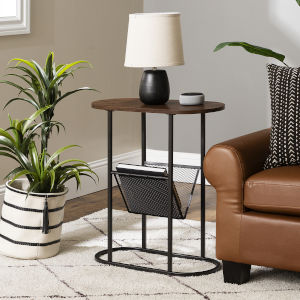 Margo Dark Walnut and Black Side Table with Magazine Rack