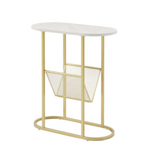 Margo White and Gold Side Table with Magazine Rack