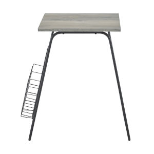 Gray Wash and Black 16-Inch Side Table with Magazine Holder