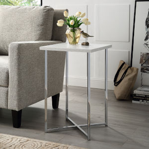 Chrome Legs Square Side Table with White Marble Top