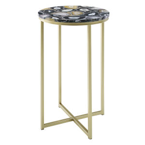 Melissa Black and Gold Round Glam Side Table