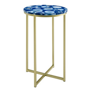 Melissa Blue and Gold Round Glam Side Table