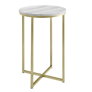 Melissa Gray and Gold Round Glam Side Table
