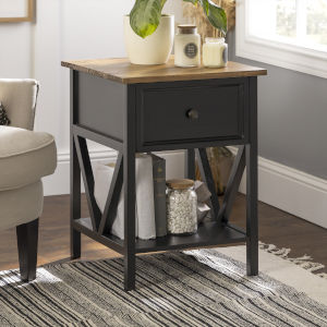 Natalee Barnwood and Black One Drawer Side Table