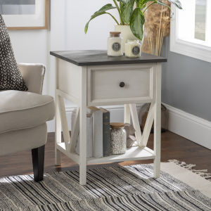 Natalee Gray and White One Drawer Side Table