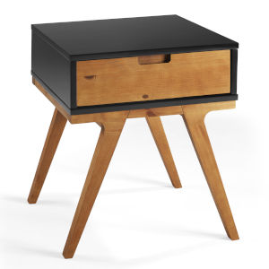 Mateo Black and Caramel Side Table with One Drawer