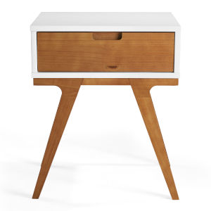 Mateo White and Caramel Side Table with One Drawer