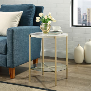 White Marble and Gold Round Side Table