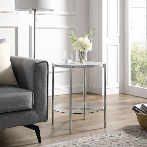 Glass Shelf, Chrome Legs Round Side Table with White Marble Top