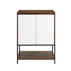 Nyman Dark Walnut and Solid White Accent Cabinet with Lower Shelf