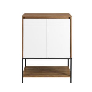 Nyman English Oak and Solid White Accent Cabinet with Lower Shelf