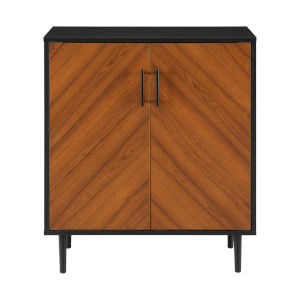 Hampton Solid Black and Brown Accent Cabinet