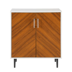 Hampton Solid White and Brown Accent Cabinet