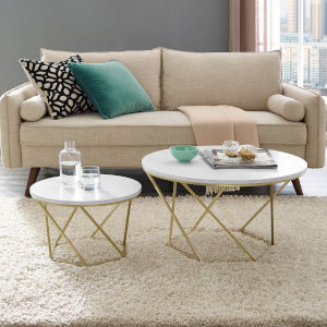 Gold Coffee Table Set with White Marble
