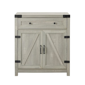 Stone Gray and Black Accent Cabinet