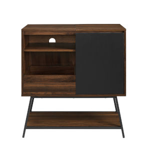 Bonnie Solid Black and Dark Walnut Record Player Accent Cabinet