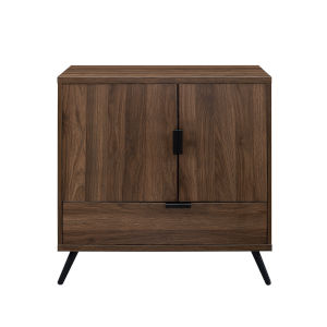 Karlene Dark Walnut and Black Accent Cabinet with One Drawer