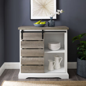 Solid White and Grey Wash TV Stand