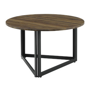 Nivara Dark Walnut and Black Triangle Base Round Coffee Table