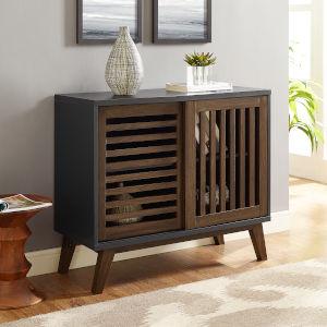 Black and Dark Walnut TV Stand Storage Cabinet