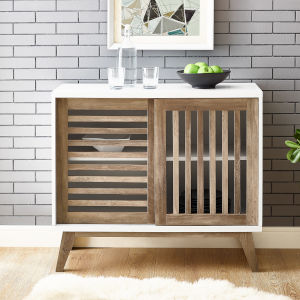 White and Rustic Oak TV Stand Storage Cabinet