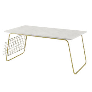 White Faux and Gold 20-Inch Coffee Table with Magazine Holder