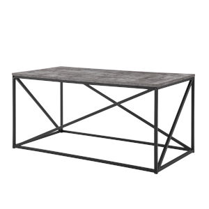 Dark Concrete and Black Geometric Coffee Table